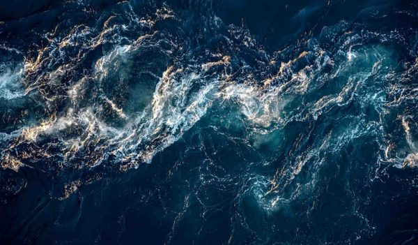 aerial view ocean waves