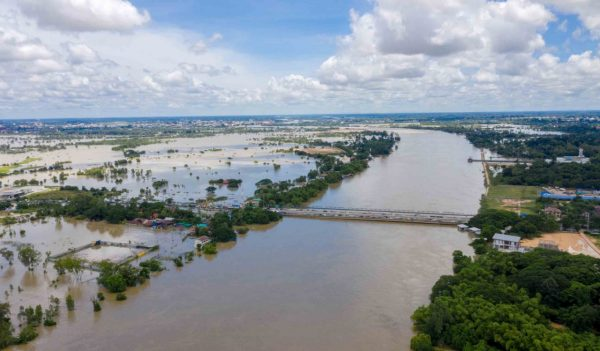 Aerial view of major floods Caused by river overflowing  Resulting in the northeast region Of Thailand adjacent to the Mun River Affected There is Ubon Ratchathani Province, Sisaket on September 14, 2