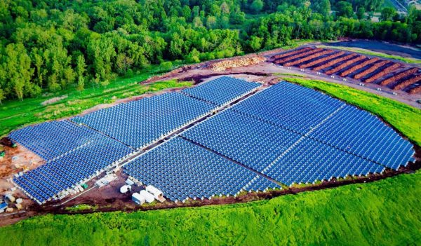 Aerial view of solar panels at the Hamden Landfill Site