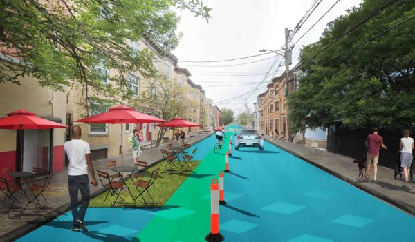 Rendering of temporary barriers for walkable streets