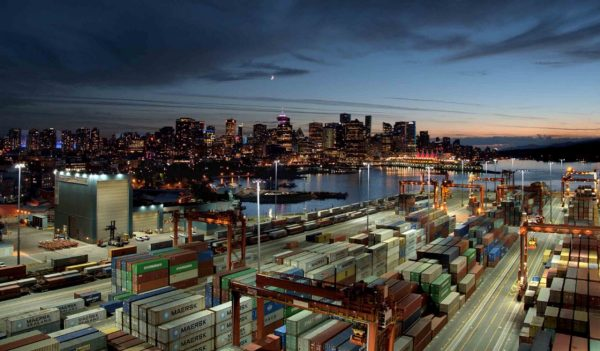 Centerm container terminal in downtown Vancouver, British Columbia. (Image courtesy of DP World)