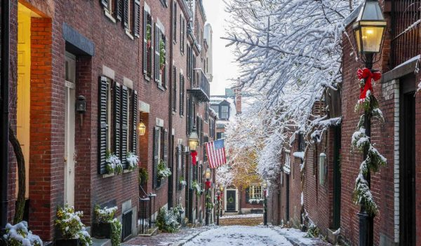 Boston street in winter with seasonal decorations