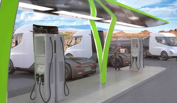 Rendering of long haul freight autonomous vehicle charging station