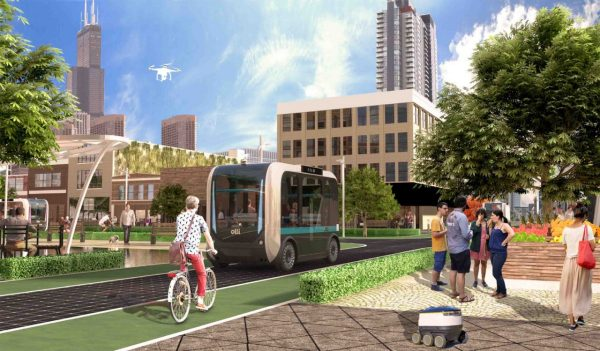 Rendering of autonomous vehicle in urban setting