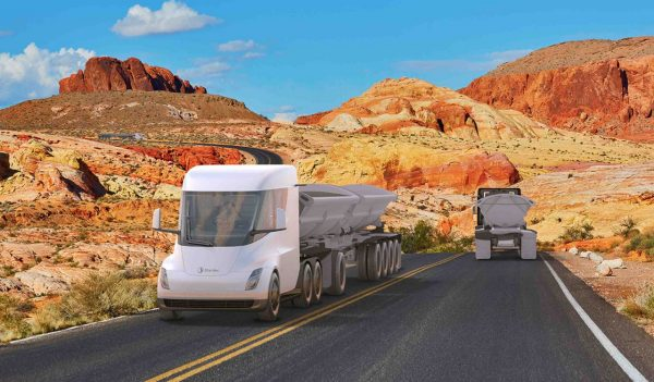 Rendering of autonomous long-haul freight vehicle on roadway