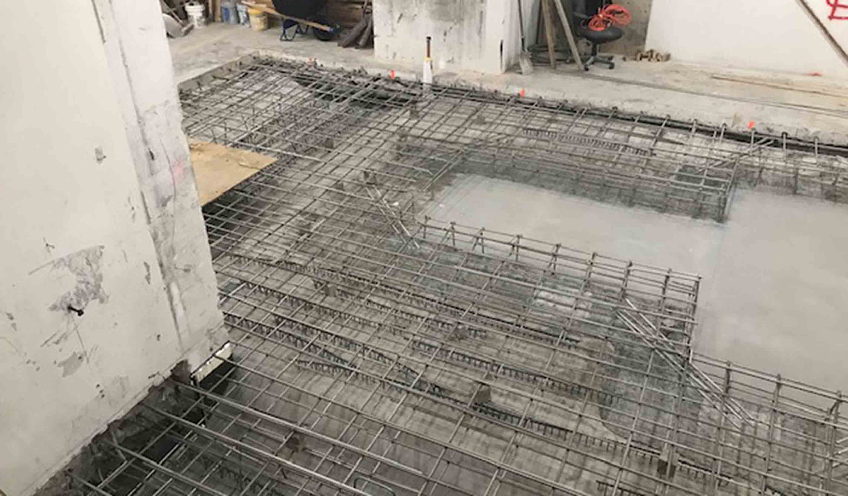 Floor slab being form and poured.