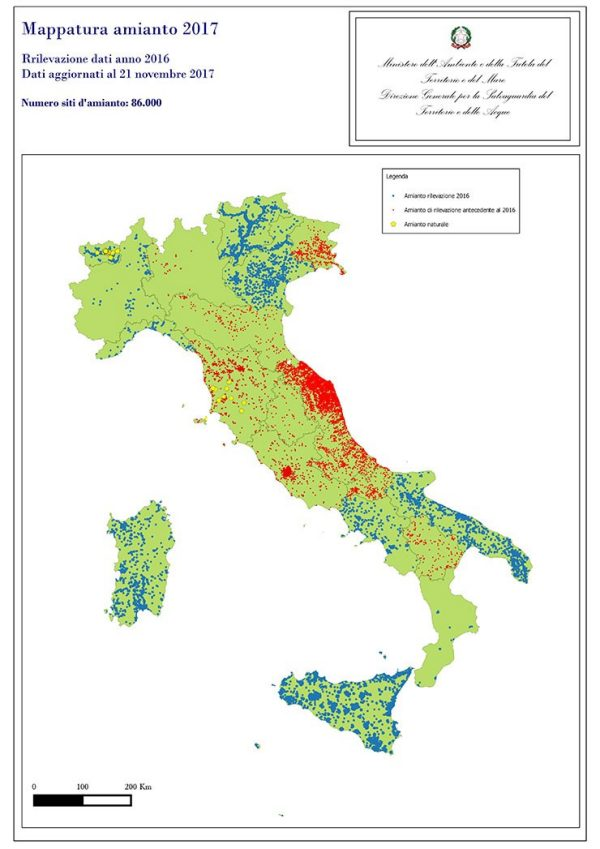 Map of Italy showing number of asbestos sites