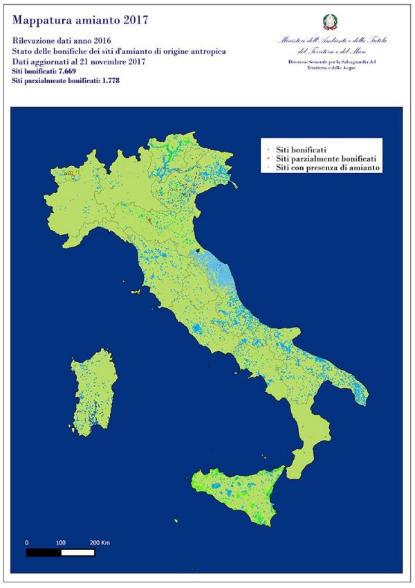 Map of Italy showing asbestos removal