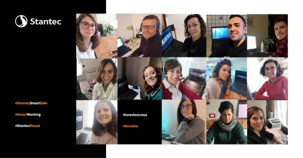 Group shot of Italy team conducting online meeting