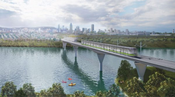 Rendering of the LRT bridge crossing a river