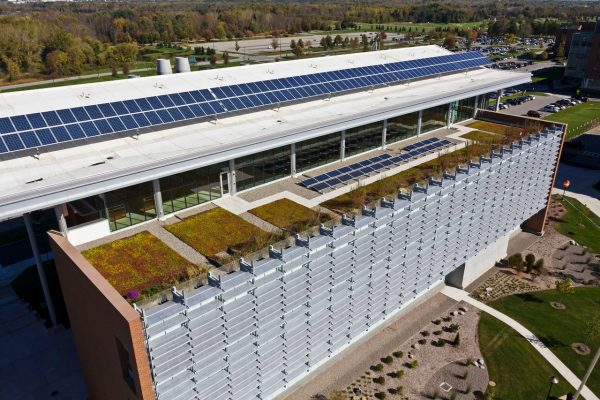 view of the green roof and solar panels