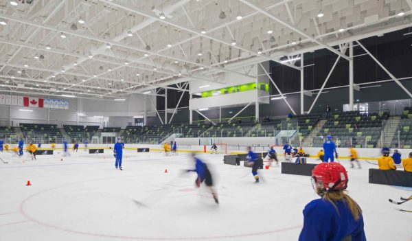 Interior hockey arena