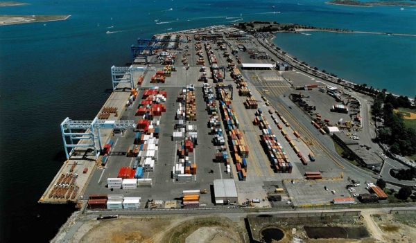 Aerial view of port with containers