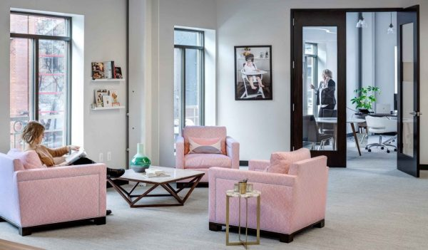 Sitting area with pink chairs