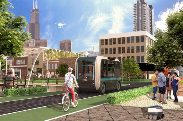 Rendering of an autonomous vehicle on a street with people standing near, a bicyclist, and buildings in the background