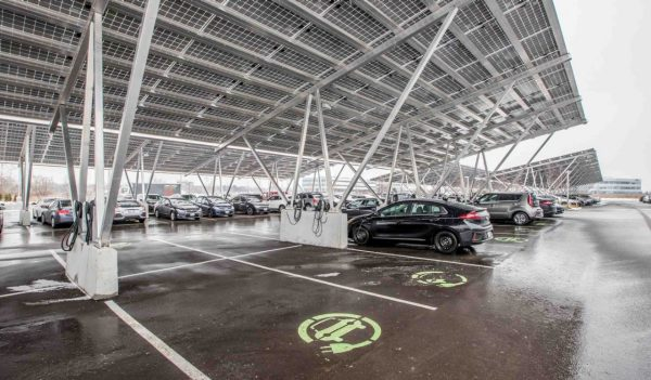 Parkade with plug ins for electric vehicles