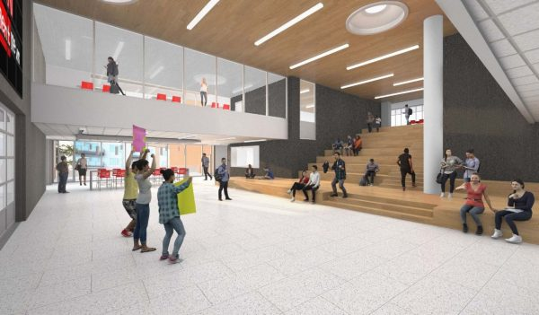 Rendering of gathering area in the school with tiered seating