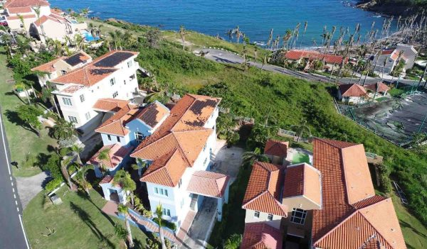 Overhead view of coastal homes