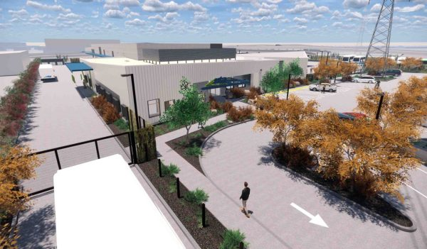 Rendering of the building and exterior entrance