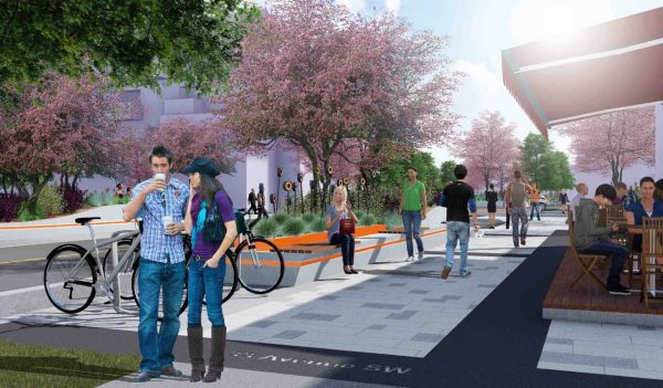 Rendering of proposed streetscape design