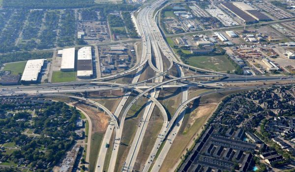 Aerial view of the interchange and highway with toll lanes