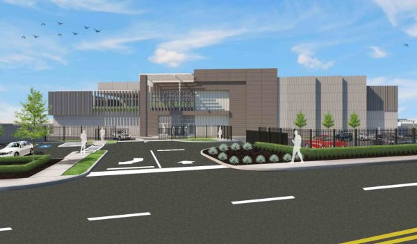 Rendering of the building and main entrance