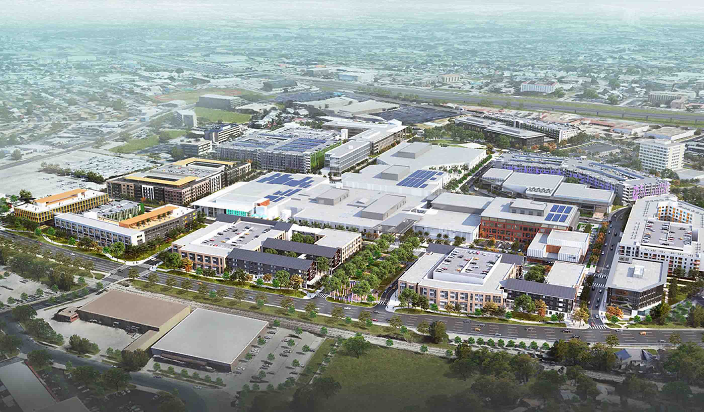 Aerial rendering of proposed new development in Austin, TX