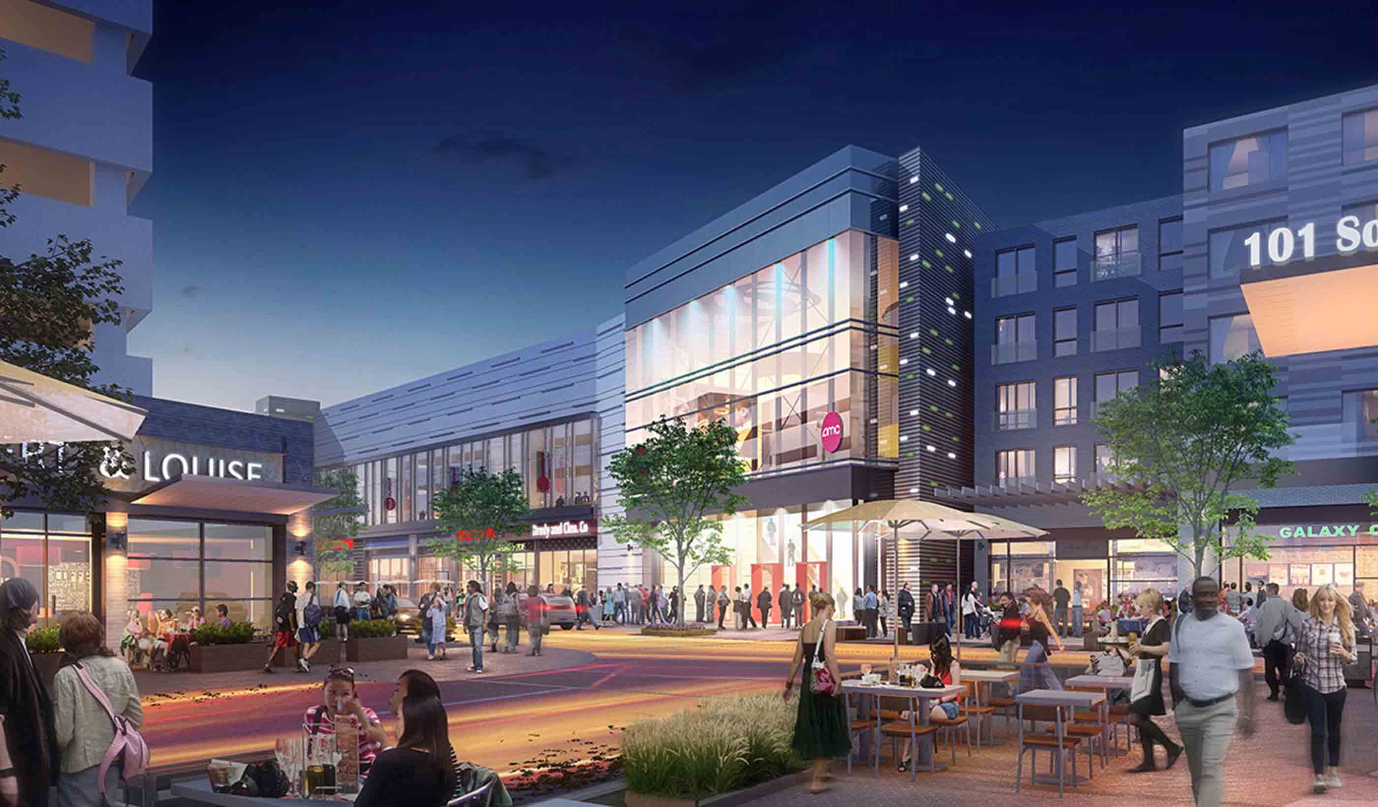 Rendering of outdoor shopping area