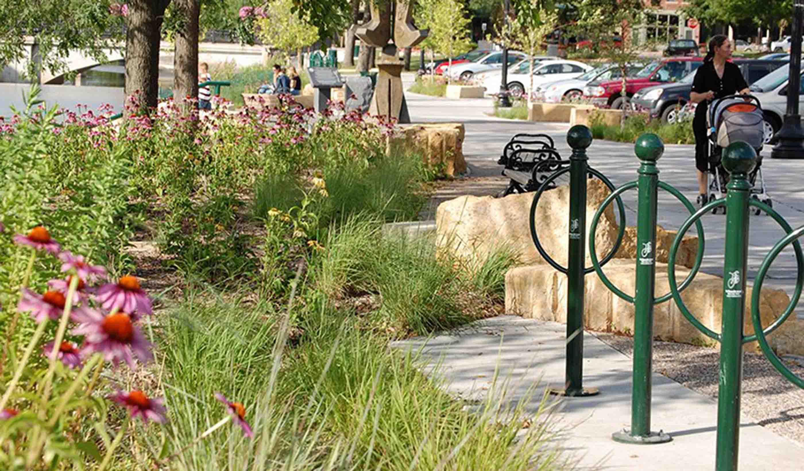 Bike racks along landscaped sidewalk