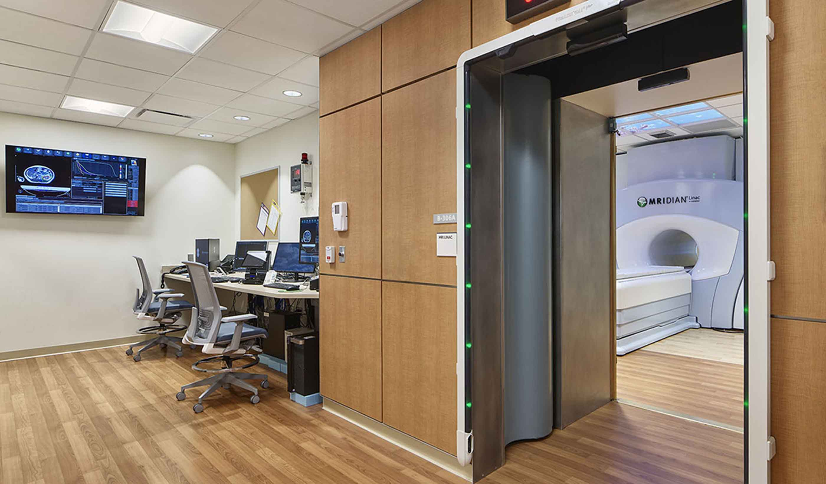 Computer imaging station just outside of the MRI room.