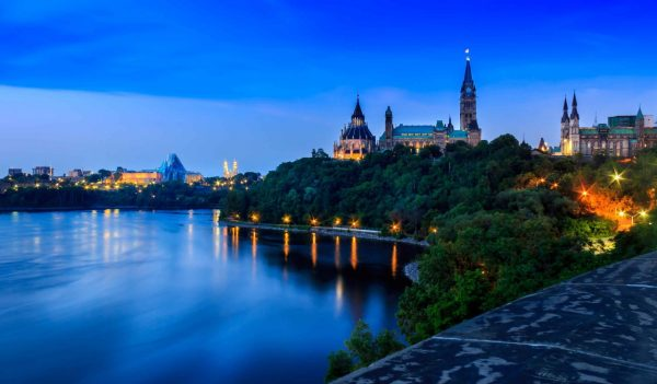 View of parliament buildings on the bank of the Ottawa River