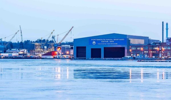 Portsmouth Naval Shipyard during a winter sunrise - Portsmouth, New Hampshire.